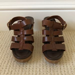 Madewell leather sandals with wood heels